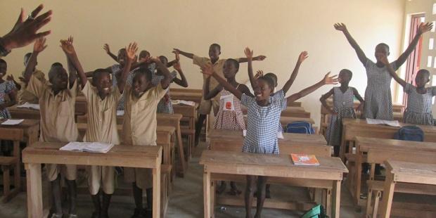 Les élèves de l'école rurale de Jacqueville, Côte d'Ivoire, mars 2017